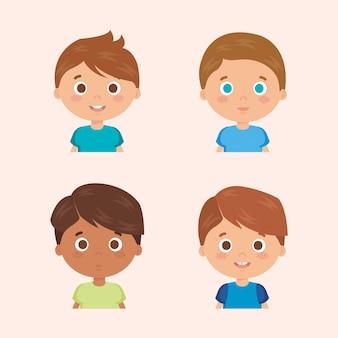 Gruppe von kleinen jungen zeichen