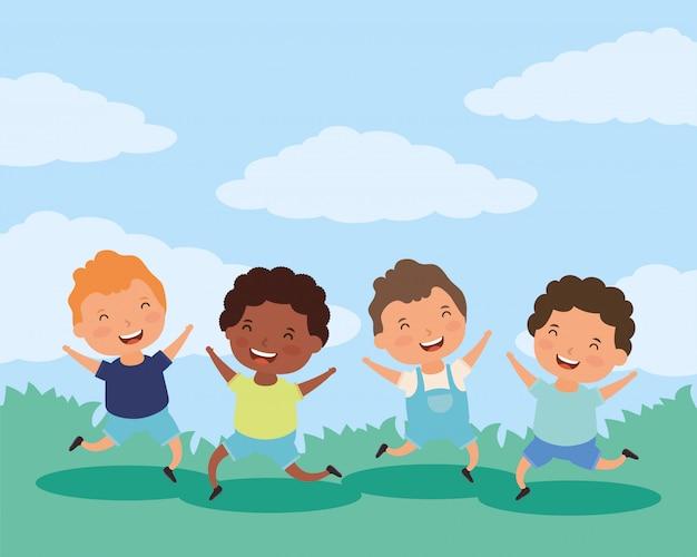 Gruppe von kleinen jungen zwischen verschiedenen rassen zeichen