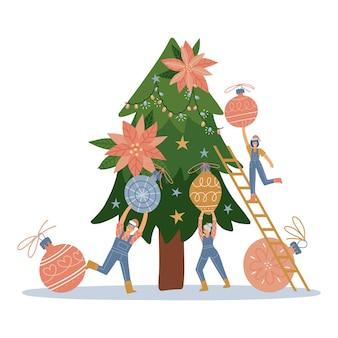 Gruppe von kleinen leuten, die flaches design des weihnachtsbaumweihnachtsgrußkartenillustrationsvektors schmücken ...