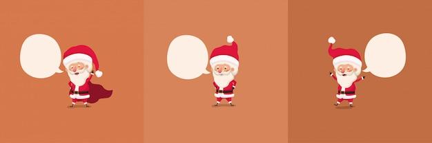 Gruppe von kleinen weihnachtsmann-figuren mit sprechblasen