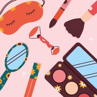 Gruppe von kosmetik über rosa