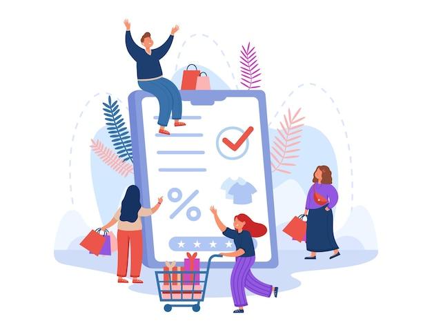 Gruppe von kunden, die im online-shop und in einem riesigen tablet einkaufen. verkauf im internetshop, käufer mit einkäufen in flacher abbildung des warenkorbs