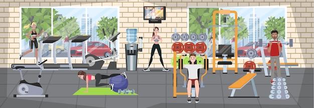 Gruppe von leuten, die im fitnessstudio trainieren