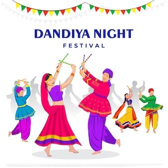 Gruppe von leuten, die in der dandiya-nacht garba spielen
