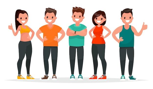 Gruppe von leuten, die in sportkleidung gekleidet sind, um im fitnessstudio auf einem weißen hintergrund zu üben