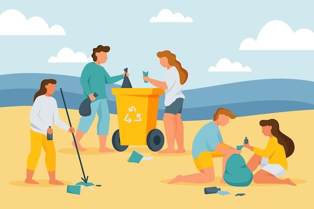 Gruppe von leuten, die strand reinigen