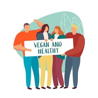 Gruppe von leuten, die zeichen vegan und gesund isoliert halten.