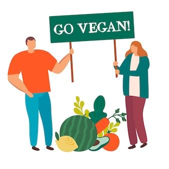 Gruppe von leuten mit großem gemüsehaltezeichen gehen vegan isoliert.