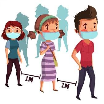 Gruppe von leuten tragen maske, die soziale distanzwarteschlange tut