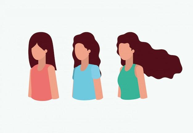 Gruppe von mädchen avataren zeichen