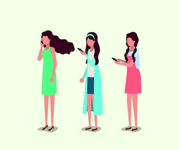 Gruppe von mädchen mit smartphone