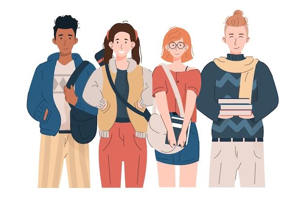 Gruppe von mädchen und jungen im teenageralter mit rucksäcken und büchern