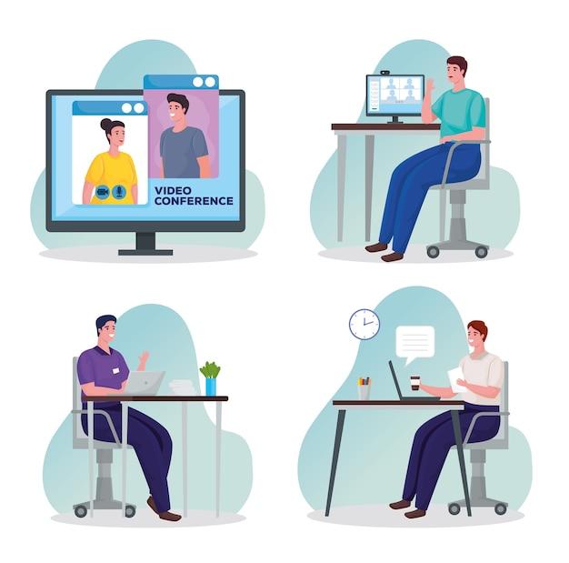 Gruppe von männern, die technologie für online-treffen am arbeitsplatz nutzen