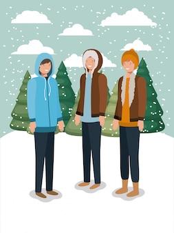 Gruppe von männern in der schneelandschaft mit winterkleidung
