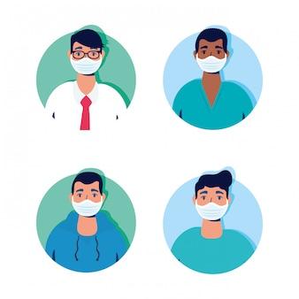 Gruppe von männern mit gesichtsmasken zeichen