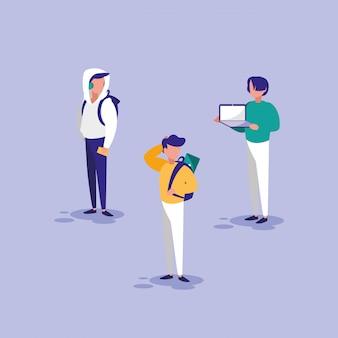 Gruppe von männern mit technologie