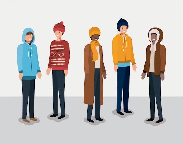 Gruppe von männern mit winterkleidung