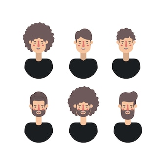 Gruppe von männern retro-stil zeichen
