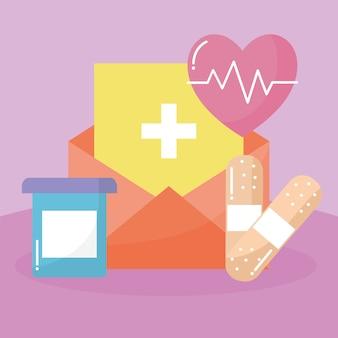 Gruppe von medizinischen ikonen über rosa illustrationsdesign