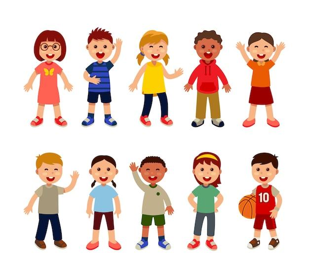 Gruppe von mehreren rassistischen kindern in der schule