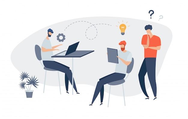 Gruppe von menschen charaktere denken über eine idee online-nachrichten, soziale netzwerke, virtuelle kommunikation, unternehmensnachrichten, website-erstellung. geschäftsleute diskutieren soziale. bereiten sie einen projektstart vor.