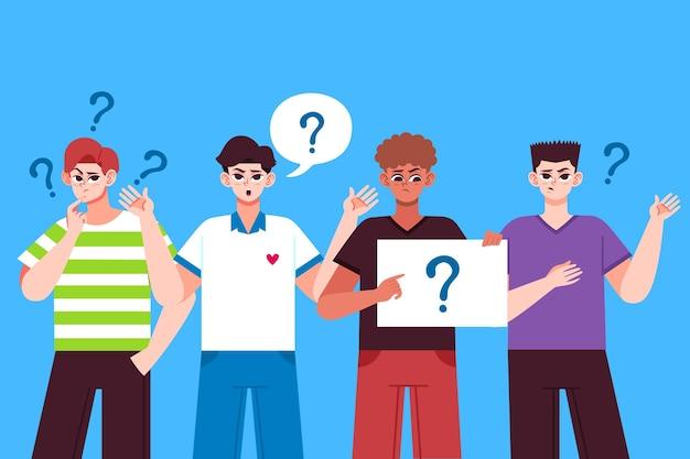 Gruppe von menschen, die fragen stellen