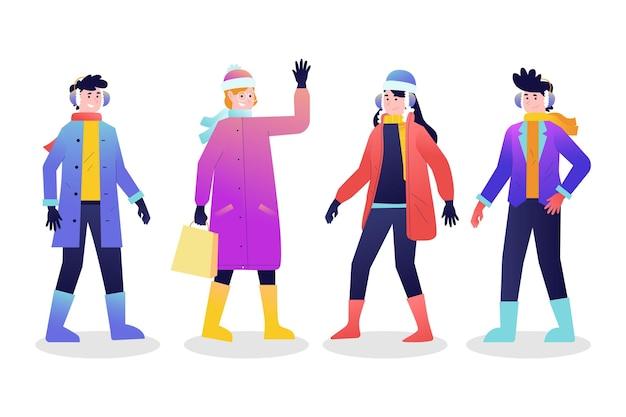 Gruppe von menschen, die gemütliche kleidung im winter tragen