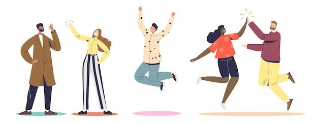 Gruppe von menschen, die glücklich jubeln, high five geben, aufspringen, ein ok-zeichen und einen daumen nach oben zeigen