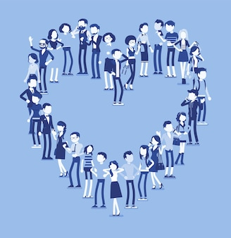 Gruppe von menschen, die herzform machen. mitglieder verschiedener nationen, geschlecht, alter, berufe stehen zusammen und bilden ein romantisches liebessymbol. vektorillustration mit gesichtslosen charakteren, in voller länge