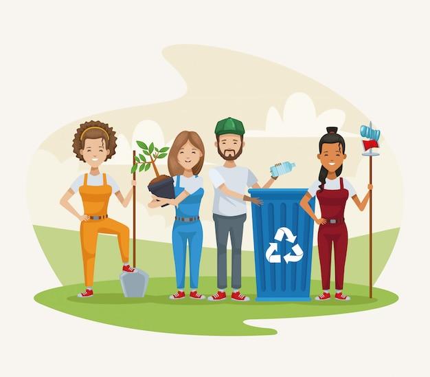 Gruppe von menschen, die im lager pflanzen und recyceln