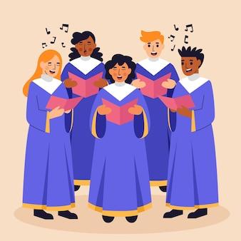 Gruppe von menschen, die in einem gospelchor singen