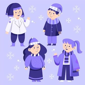 Gruppe von menschen, die kuschelige kleidung für den winter tragen