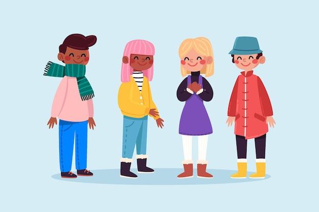 Gruppe von menschen, die kuschelige winterkleidung tragen