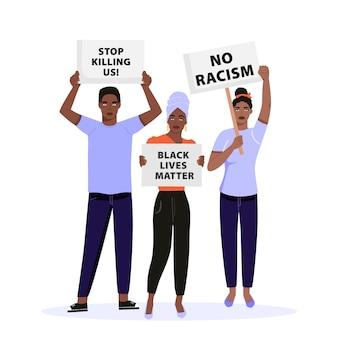 Gruppe von menschen, die plakate halten und gegen die menschenrechte der schwarzen protestieren.