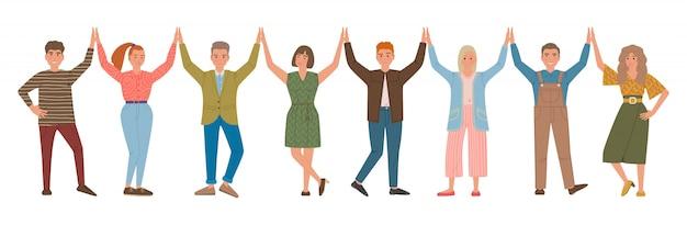 Gruppe von menschen, die sich gegenseitig high five geben. glücklich lächelnde männer und frauen. zeichentrickfiguren isoliert.
