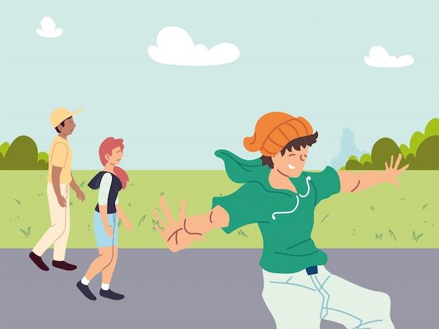 Gruppe von menschen, die sportliche aktivitäten im freien ausführen