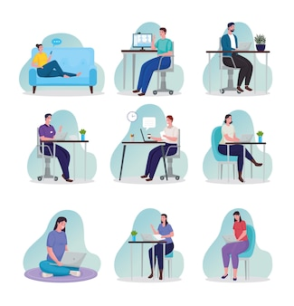 Gruppe von menschen, die technologie nutzen, um sich online an arbeitsplätzen zu treffen