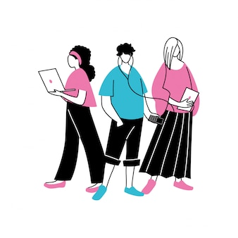 Gruppe von menschen, die technologische geräte verwenden