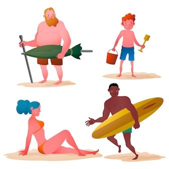 Gruppe von menschen, die verschiedene aktivitäten am strand tun