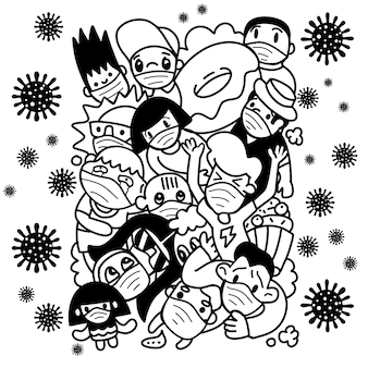 Gruppe von menschen, die wegen des koronavirus in angst und furcht sind. wuhan corona virus illustration.