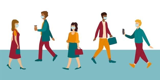 Gruppe von menschen, die wieder zur arbeit gehen, während sie gesichtsmasken tragen