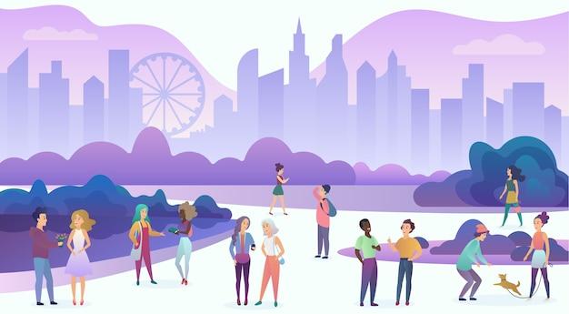 Gruppe von menschen, die zeit genießen, spazieren gehen, kommunizieren, spaß haben, sich verabreden, reden, in der abendlichen stadtkarikatur lachen