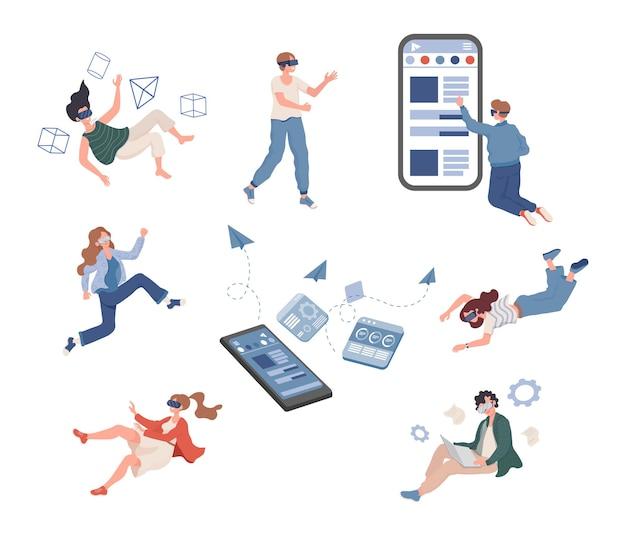 Gruppe von menschen, die zeit in der vektorwohnung der virtuellen realität verbringen