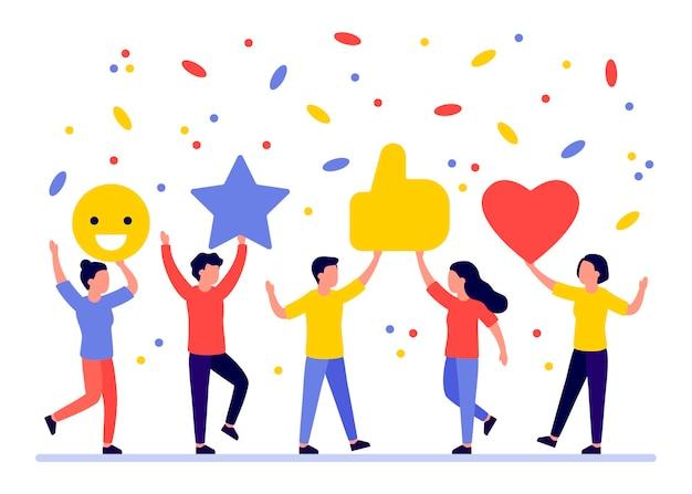 Gruppe von menschen geben rate, feedback, meinung, abstimmung. mann und frau wahl, rang zufriedenheit. client gute bewertung, wie. kommentar kunde. flache illustration