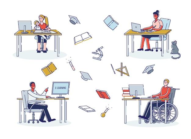 Gruppe von menschen haben online-kurse