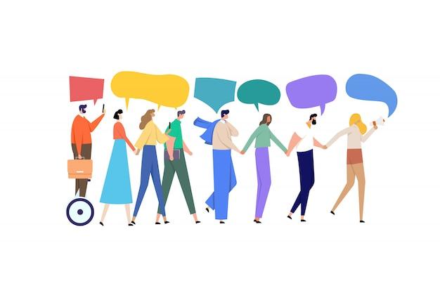 Gruppe von menschen hand in hand gehen und miteinander reden.