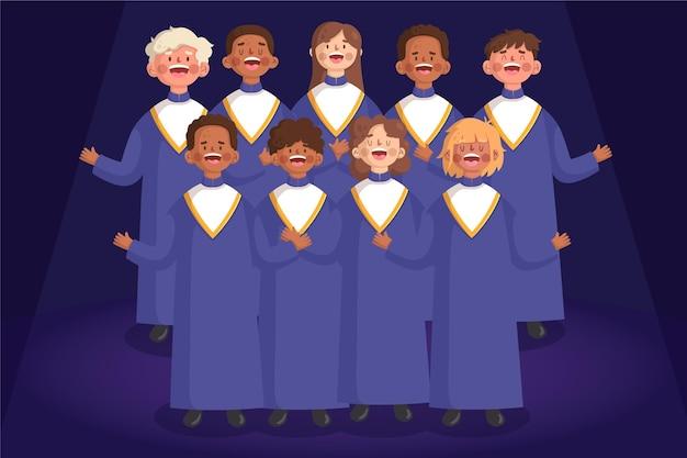 Gruppe von menschen im gospelchor