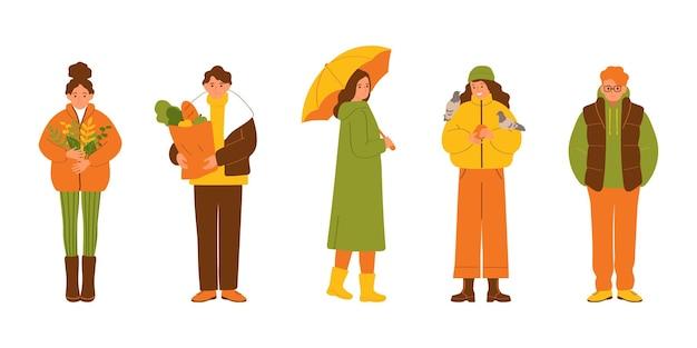 Gruppe von menschen in herbstkleidung isoliert auf weißem hintergrund vektor-illustration im flachen stil
