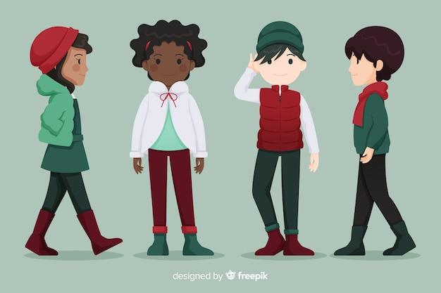 Gruppe von menschen in winterkleidung