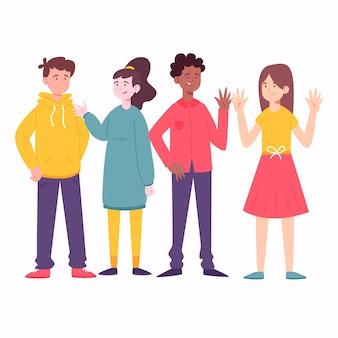 Gruppe von menschen mit farbigen kleidern